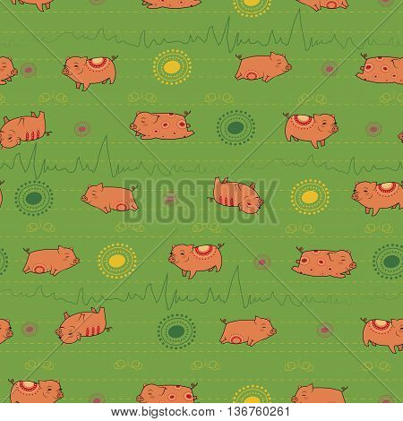 Happy pink piggies with green background. Vector Seamless Pattern