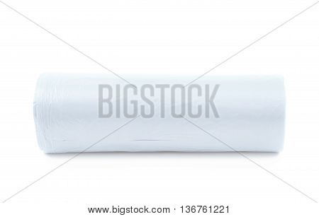 White plastic polyethylene trash bag roll isolated over the white background