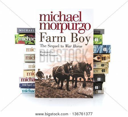 SWINDON UK - JULY 11 2016: Farm Boy by Michael Morpurgo on a white background