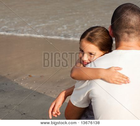 Portrait of a Young Daughter Hugging his father