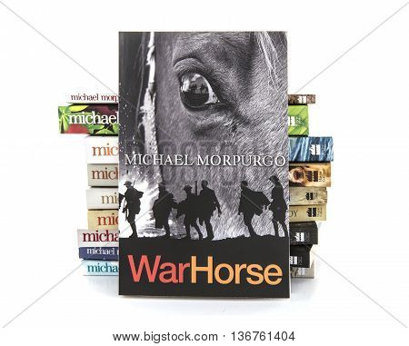 SWINDON UK - JULY 11 2016: War Horse by Michael Morpurgo on a white background