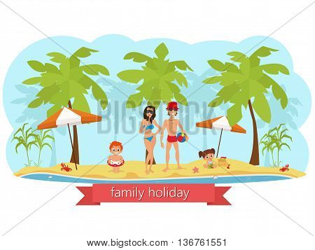 happy family on the beach. mom dad son and daughter. vector