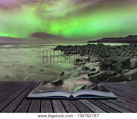 Beautiful Northern Lights Aurora Borealis Over Coastal Landscape