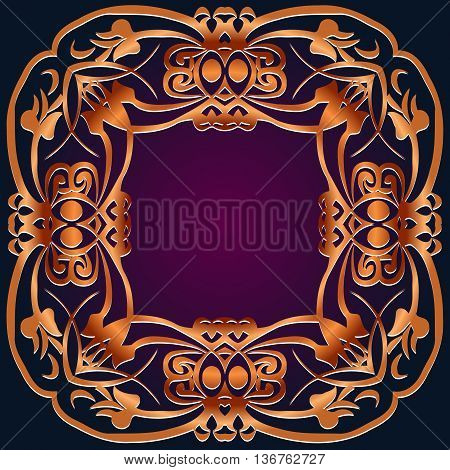 Decorative floral tracery vintage pattern on a dark background embossed brown leather ethnic art of the Renaissance