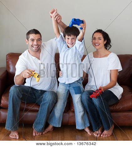 poster of Happy family playing video games