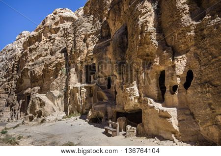 Cave Tombs In Nabataean City Of The Siq Al-barid In Jordan. It Is Known As The Little Petra