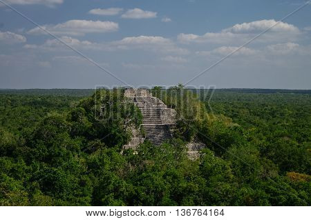The Pyramid Structure Of 1 In The Complex Rises Over The Jungle Of Calakmul, Mexico