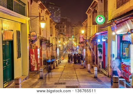The Rua Da Felicidade Street At Night In Macau, China