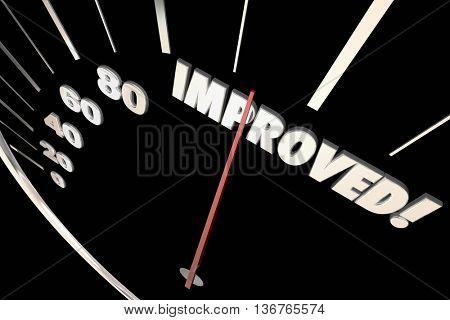 Improved Word Better Speedometer Progress 3d Illustration