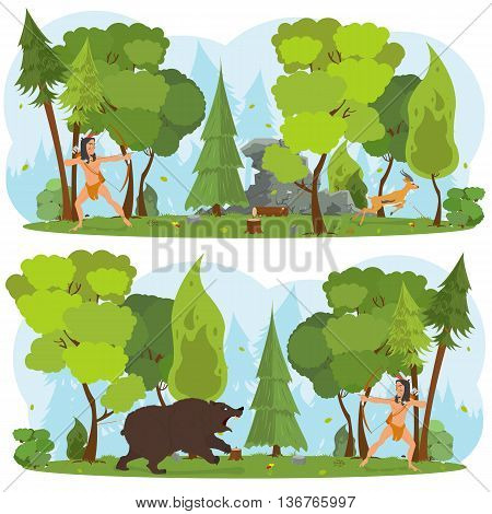 American Indian in the woods hunting. Indian hunts with a bow. Indian hunter in the woods dangerous grizzly bear attack. Indian man bowhunting for deer in the woods. vector
