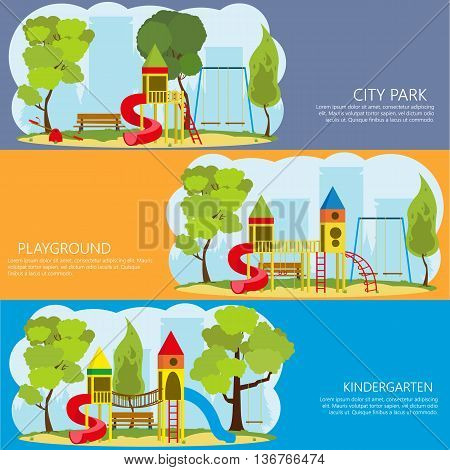 horizontal banners with information about the playground outdoors. vector