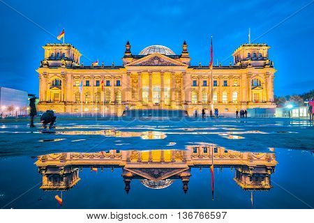 The Reichstag Building At Night In Berlin, Germany