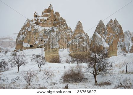 A cloudy january day in the mountains of Cappadocia. The surrounding area of Goreme, Turkey
