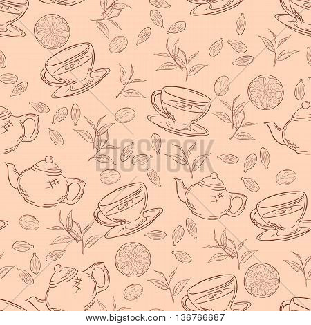 vector hand drawn seamless pattern with outlines cup of tea teapot leaf and lemon.