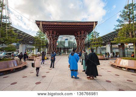 Tsuzumimon Gate At Kanazawa Station In Japan