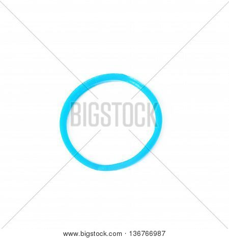 Single rubber loom band isolated over the white background