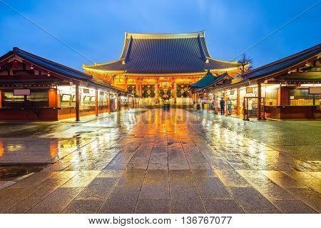 Night At Senso-ji Temple In Tokyo, Japan
