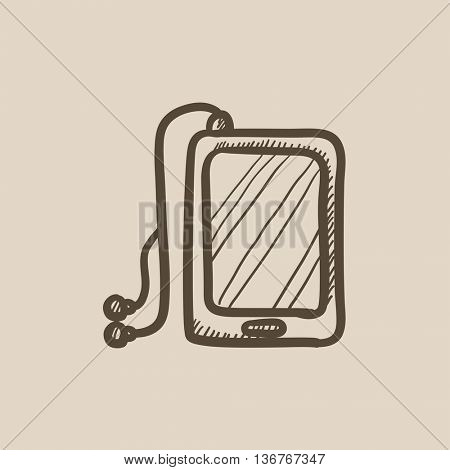 Tablet with headphones vector sketch icon isolated on background. Hand drawn Tablet with headphones icon. Tablet with headphones sketch icon for infographic, website or app.