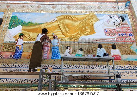 BAGO MYANMAR - APRIL 2016: Shwethalyaung buddha the giant reclining was closed for repairs in Bago Myanmar 4 April 2016.