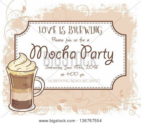 vector hand drawn mocha party invitation card, vintage frame, glass and leaves.