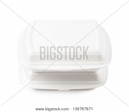 Two white food delivery containers made of styrofoam, composition isolated over the white background