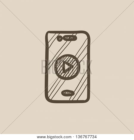 Smartphone vector sketch icon isolated on background. Hand drawn Smartphone icon. Smartphone sketch icon for infographic, website or app.