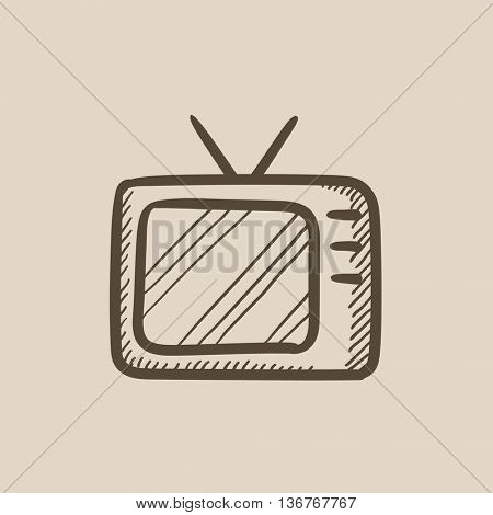 Retro television vector sketch icon isolated on background. Hand drawn Retro television icon. Retro television sketch icon for infographic, website or app.