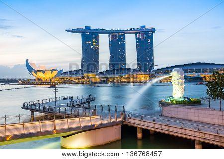 Singapore City Skyline With Merlion