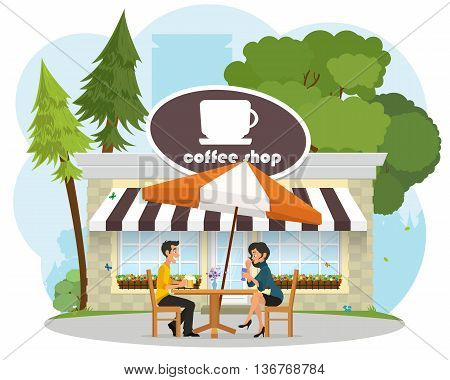 enamored pair young people on a date at a cafe in the park. vector