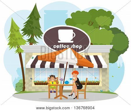 child with mother resting in a cafe in the park. child eating ice cream in a cafe. vector