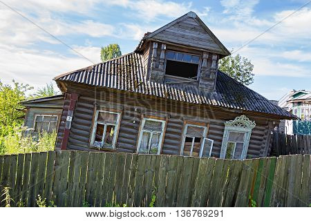 Old abandoned rickety wooden house. Uglich. Russia.