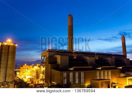 Cement plant in sunset