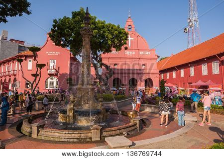 Malacca Malaysia - June 30 2016 : Main Malacca city square with old christ church