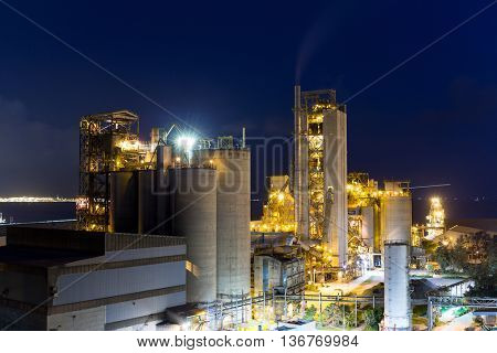 Cement plant at night