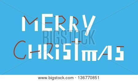 The Marry Christmas Inscription on the blue background