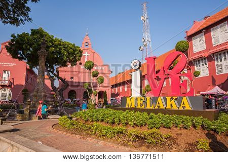Malacca Malaysia - June 30 2016 : Main Malacca city square with old christ church and sign