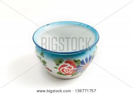 old thai zinc galvanized spittoon isolated background