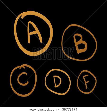 Doodle vector grades set of gold hand drawn letters gold hand drawn illustration on black background