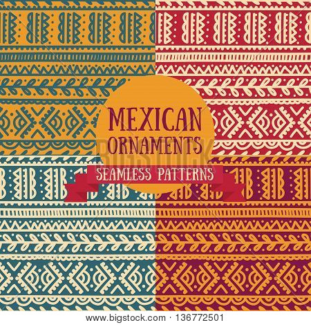 set of abstract seamless patterns in boho style, mexican colors, vector illustration