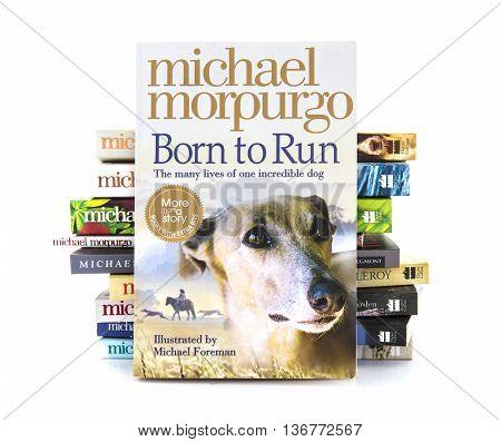 SWINDON UK - JULY 2 2016: Born To Run by Michael Morpurgo on a white background