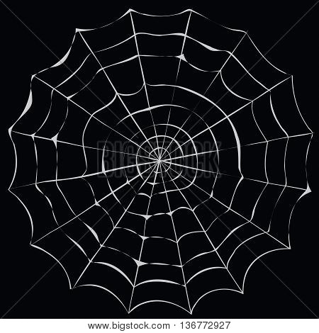 Simple cartoon spider web on a black background.