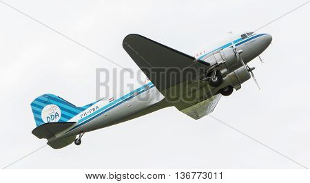 Leeuwarden, The Netherlands - June 11, 2016: Dakota (dc-3) Ph-pba During A Demonstration At The Roya