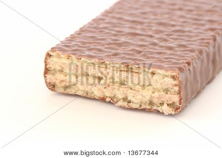 Chocolate Biscuit On White Background