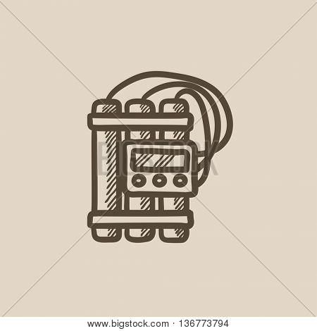 Dynamite and detonator vector sketch icon isolated on background. Hand drawn Dynamite and detonator icon. Dynamite and detonator sketch icon for infographic, website or app.