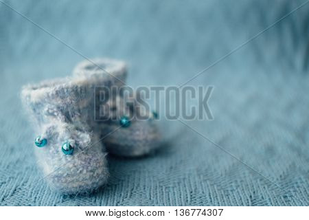 Knitted Blue Baby Boy Shoes