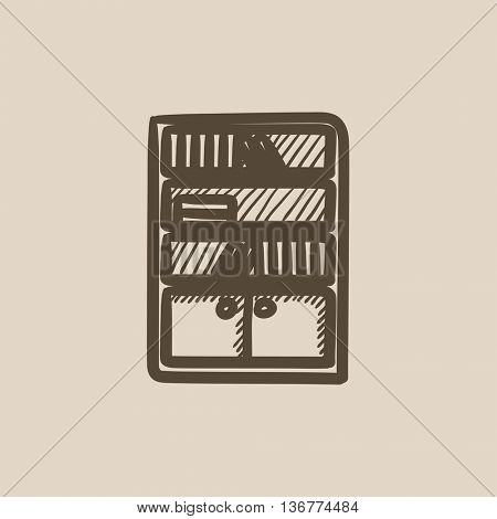 Bookcase vector sketch icon isolated on background. Hand drawn Bookcase icon. Bookcase sketch icon for infographic, website or app.