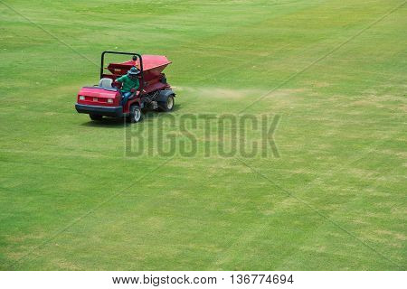 sand spray car Maintenance the football field.