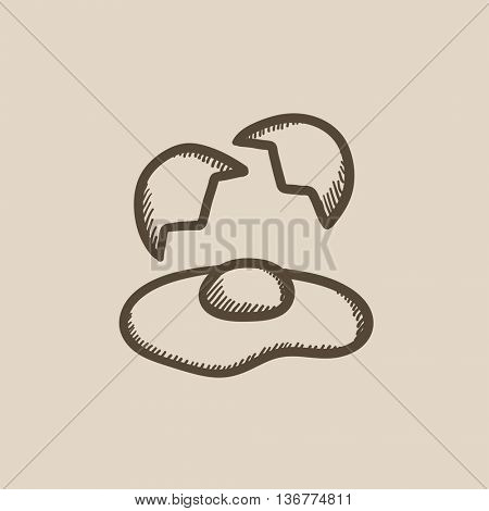 Broken egg and shells vector sketch icon isolated on background. Hand drawn Broken egg and shells icon. Broken egg and shells sketch icon for infographic, website or app.
