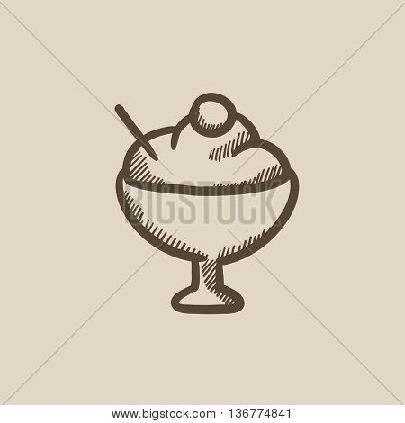 Cup of ice cream vector sketch icon isolated on background. Hand drawn Cup of ice cream icon. Cup of ice cream sketch icon for infographic, website or app.