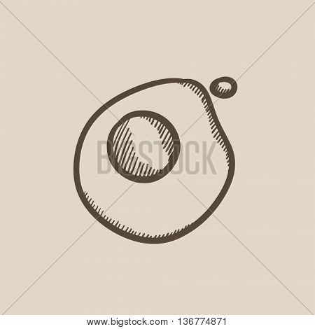 Fried egg vector sketch icon isolated on background. Hand drawn Fried egg icon. Fried egg sketch icon for infographic, website or app.